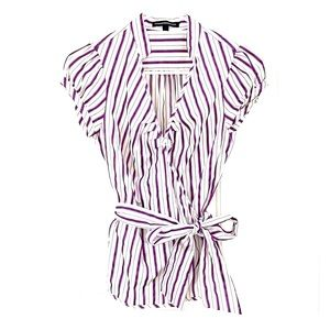 white and purple striped top that ties on the side